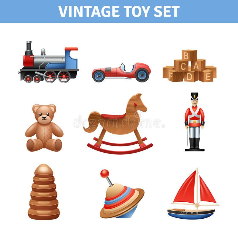 Vintage Toy Icons Set vector illustration