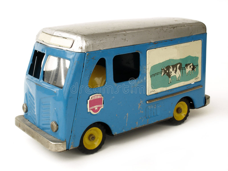 Vintage toy Milk Truck royalty free stock image