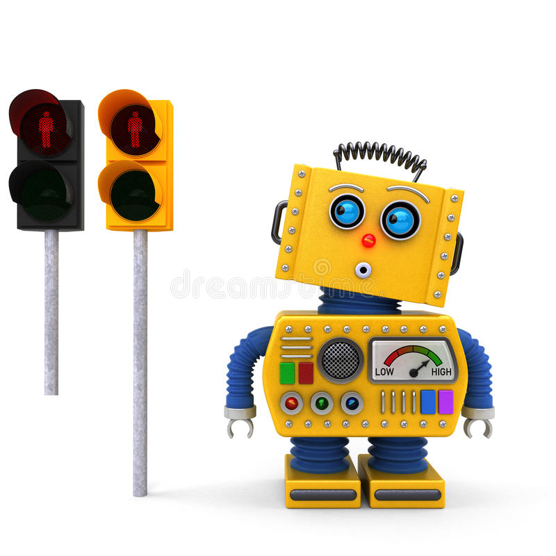Vintage toy robot stopping at traffic light vector illustration