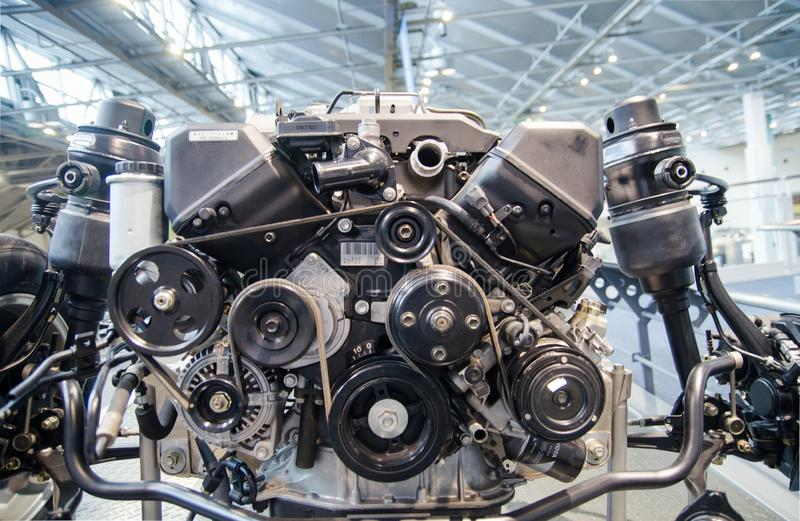 Vintage Toyota Car Engine displayed at Toyota Commemorative Museum of Industry and Technology stock photography