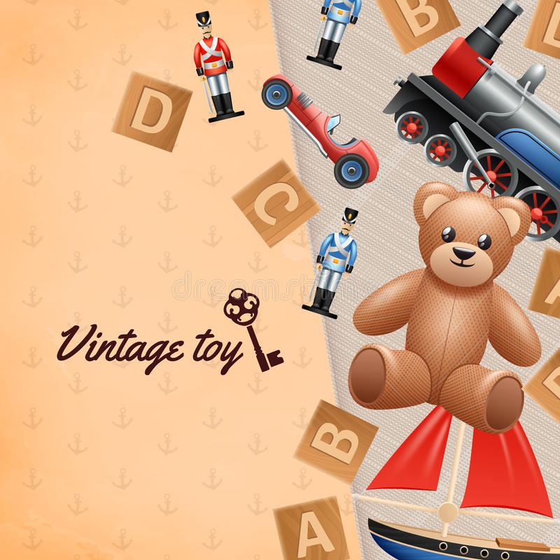 Vintage Toys Background. Vintage toys realistic background with toy soldier car and teddy bear vector illustration stock illustration