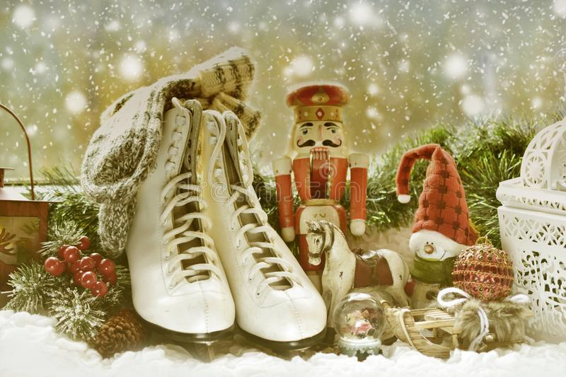 Vintage toys and old skates on window sill for christmas royalty free stock photos