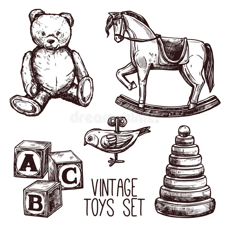 Free Vintage Toys Set Stock Photo - 56998840
