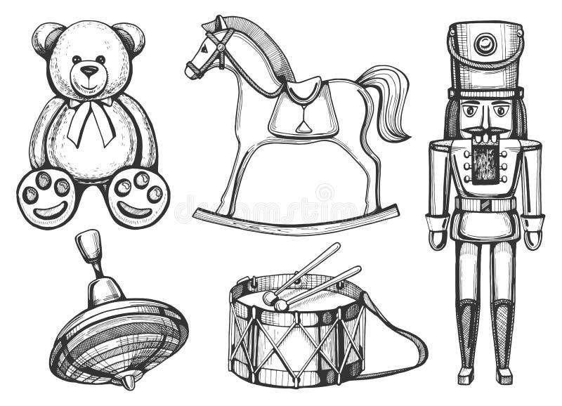Vintage toys set. Vector vintage toys set: bear, rocking horse, nutcracker, drum, yule. Vintage hand drawn style royalty free illustration