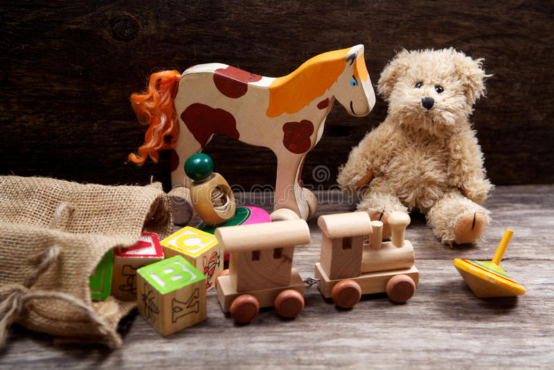 Vintage toys on wooden royalty free stock photos