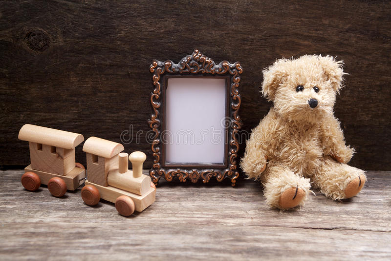 Vintage toys woth frame for photo stock photo