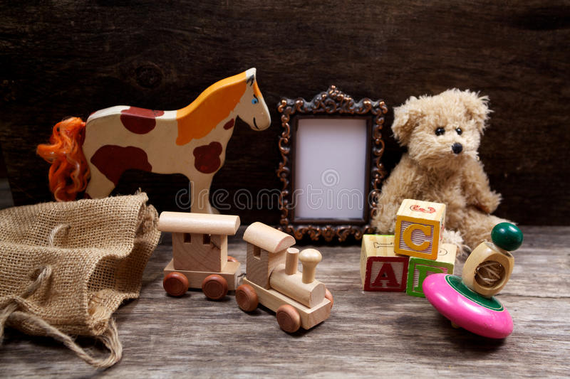 Vintage toys woth frame for photo stock photography