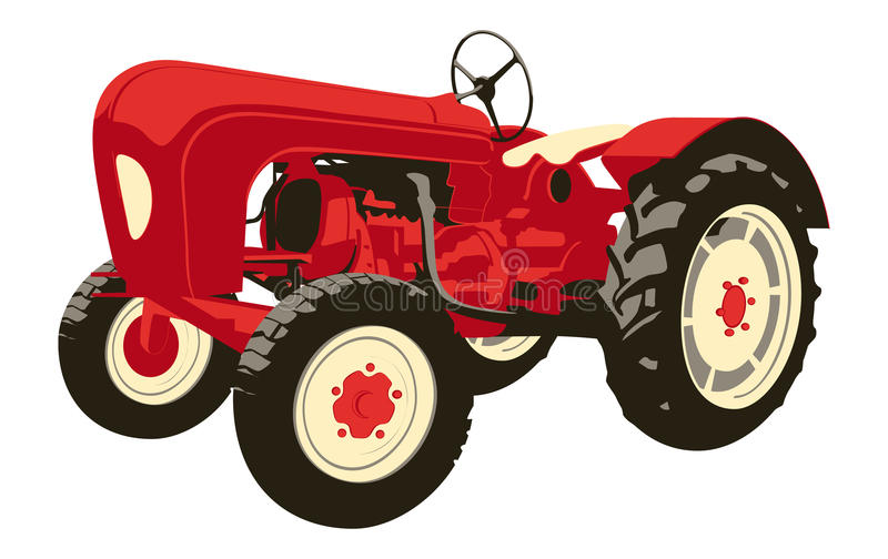Vintage tractor. Vector illustration of a vintage red Porsche tractor an agricultural machinery isolated on white background royalty free illustration