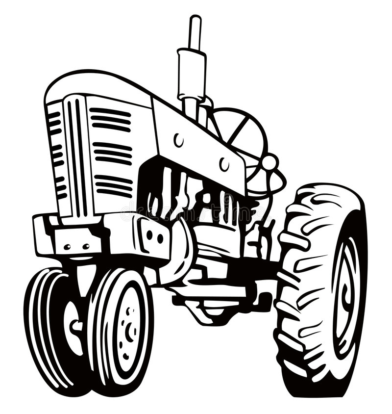 Vintage tractor. Vector art of a farm vintage tractor stock illustration