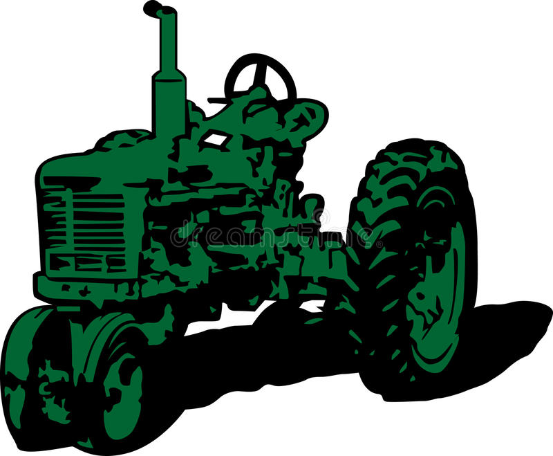 Vintage tractor clip art royalty free illustration