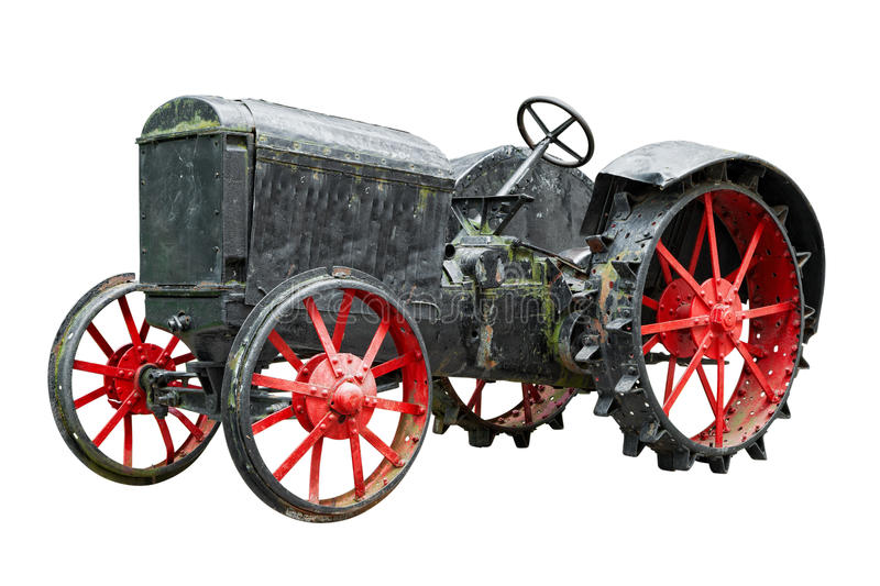 Vintage tractor isolated on white. Background stock image