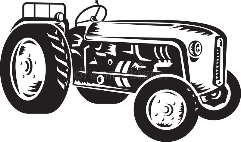 Vintage tractor retro woodcut vector illustration