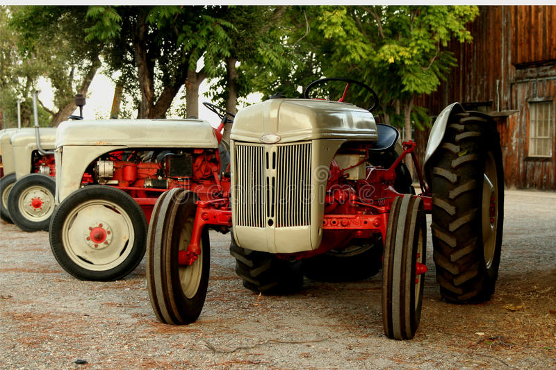 Vintage tractors. A row of vintage tractors that have been restored royalty free stock image