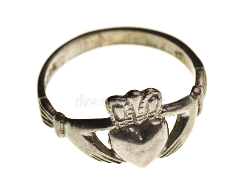 Vintage traditional Claddagh ring isolated. On a pure white background royalty free stock photos