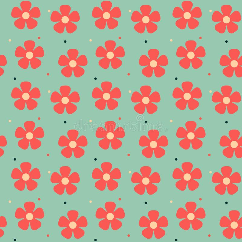 Vintage traditional red floral seamless pattern light green background royalty free illustration