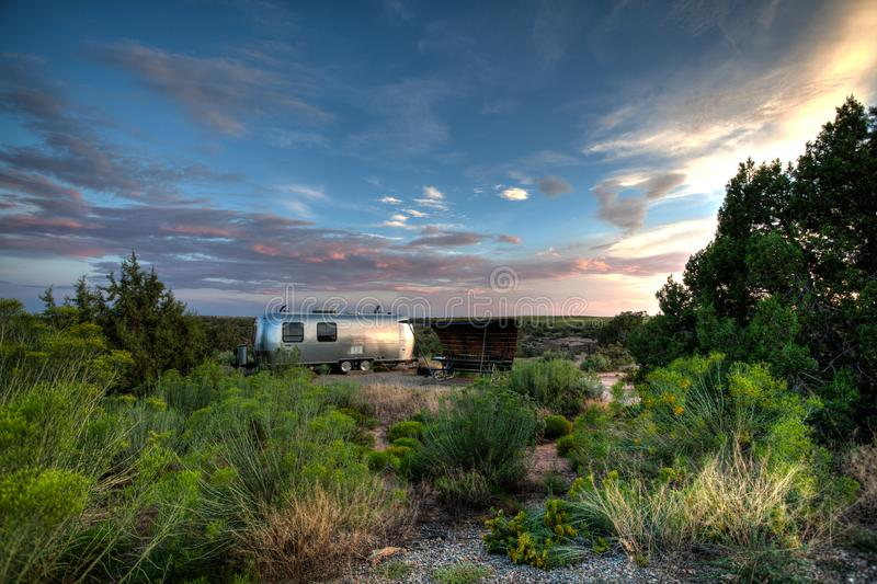 Vintage Trailer camping at Hovenweep National Monument royalty free stock image
