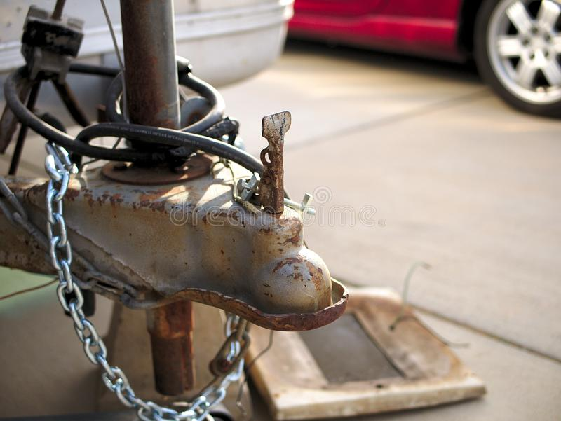 Vintage trailer close up of tow hitch and chains. stock photo