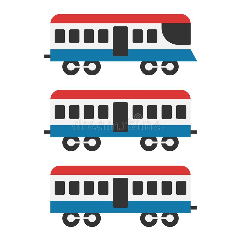 Vintage train icon set, isolated on white background, vector illustration. stock illustration