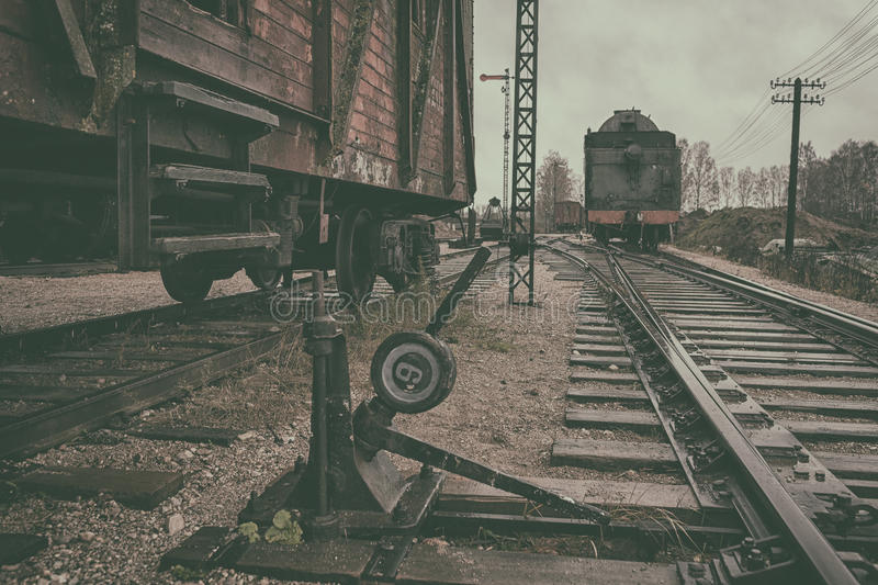 Vintage train station royalty free stock photos