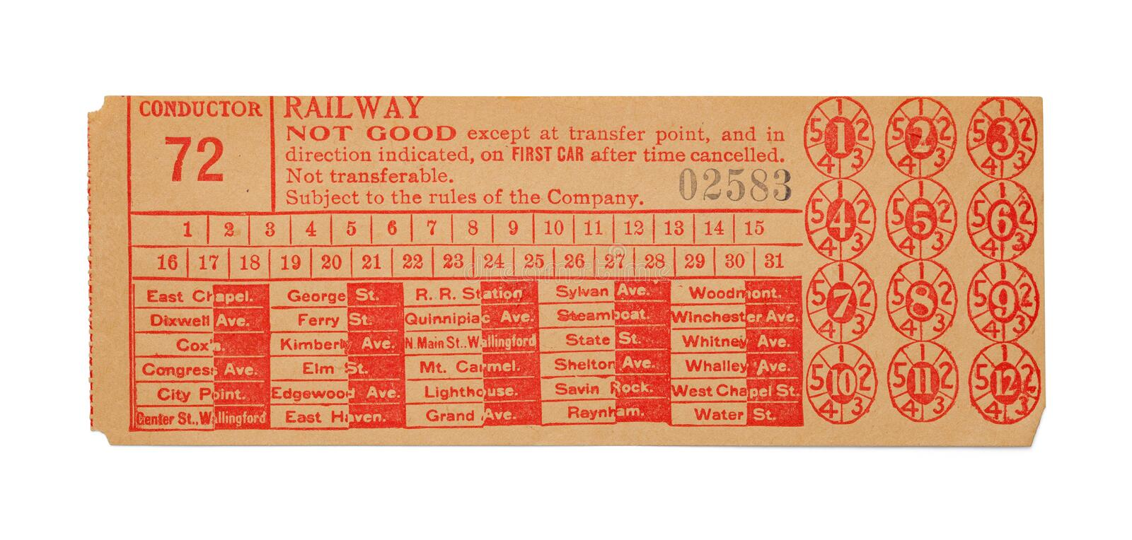 Old Train Ticket stock photography