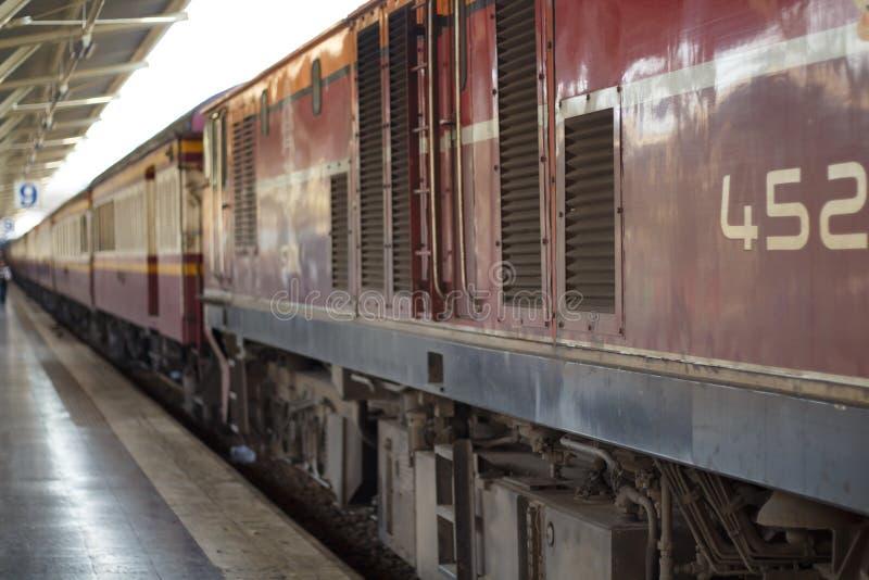 Vintage train to depart from station. Vintage train to depart from station, Railroad track stock images