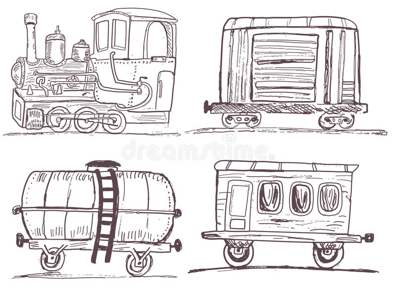 Vintage train with wagons sketch. Sketch vector illustration of a train with three different wagons vector illustration