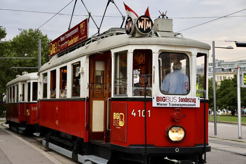 Vintage tram car on the street of Vienna,Austria stock photo