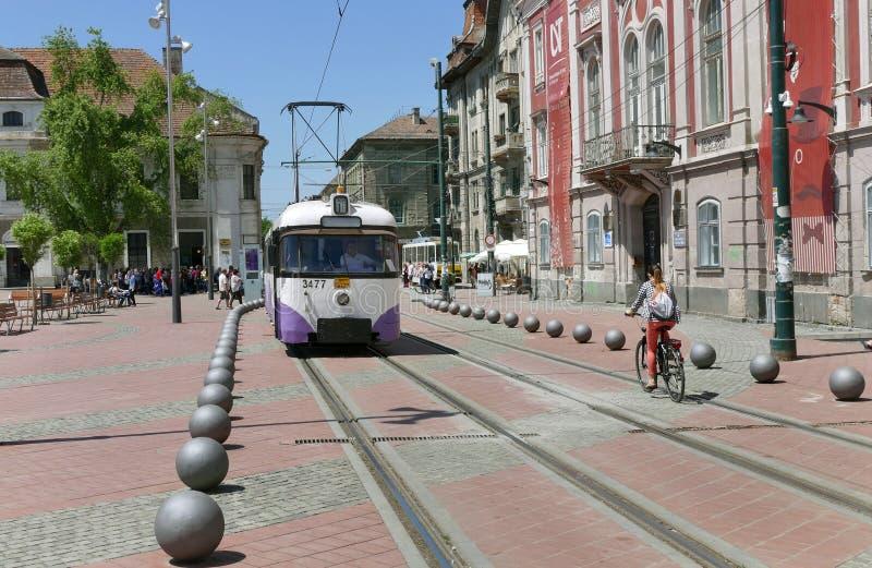 Vintage Tram Car in Timisoara, Romania. TIMISOARA, ROMANIA - 21 MAY 2016: Vintage Tramway at Liberty Square in Timisoara, Romania royalty free stock images