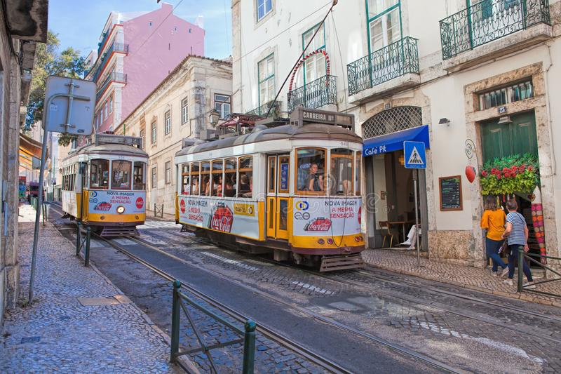 Vintage tram in the city center of Lisbon Lisbon, Portugal in a summer day royalty free stock photos