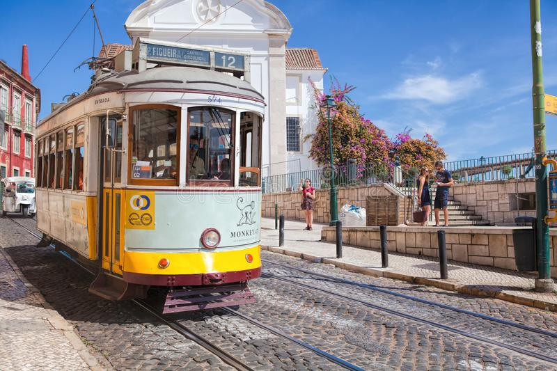 Vintage tram in the city center of Lisbon Lisbon, Portugal in a summer day royalty free stock image