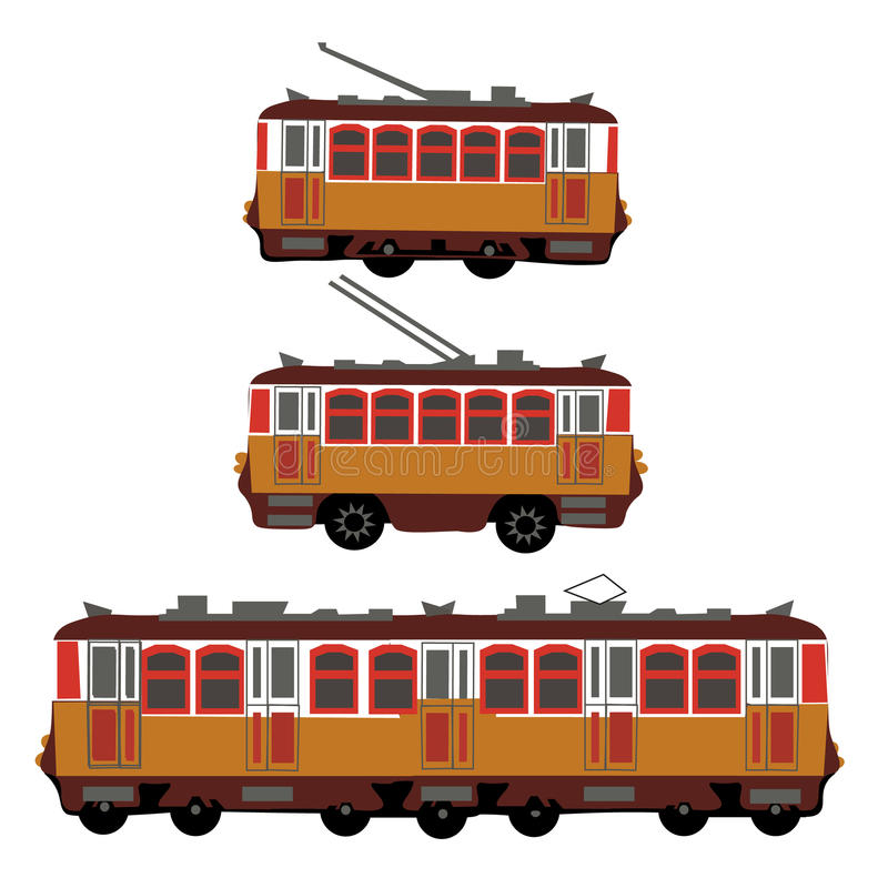 Vintage tram, electric train, trolleybus. Retro. Detail view of the side of the electric transport. Tourist tram. Yellow stock illustration