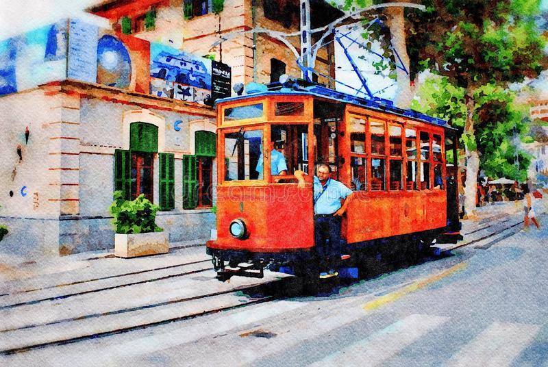 Vintage tram, Majorca stock photography