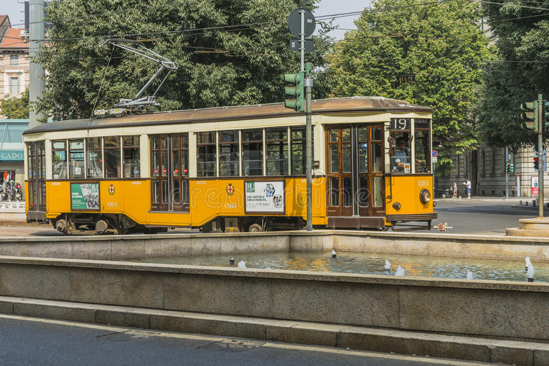Vintage tram on the Milano street royalty free stock images