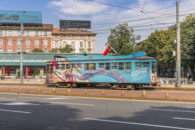 Vintage tram on the Milano street stock photo