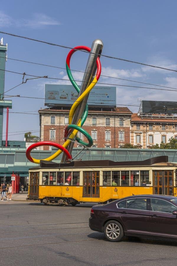Vintage tram on the Milano street royalty free stock photos