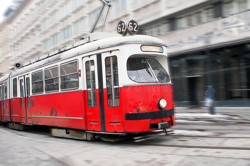 Download Vintage tram in motion stock image. Image of town, tourist - 13040375