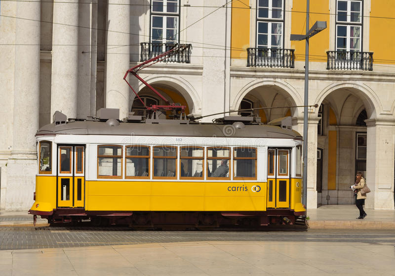 Vintage Tram on the Praca do Comercio Lisbon Portugal. royalty free stock image