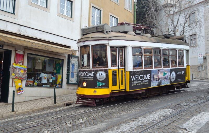 Vintage Tram or Streetcar Lisbon Portugal royalty free stock photo