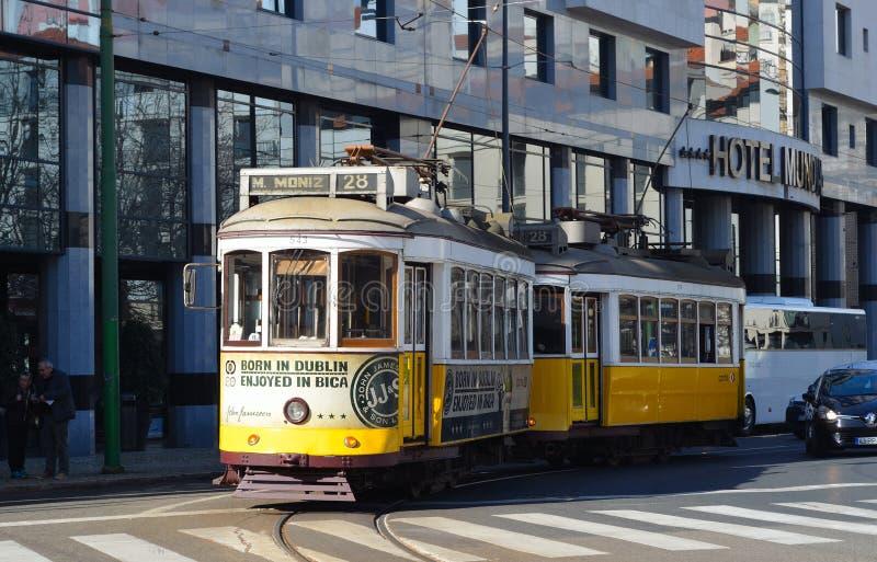 Vintage Tram or Streetcar Lisbon Portugal stock photos