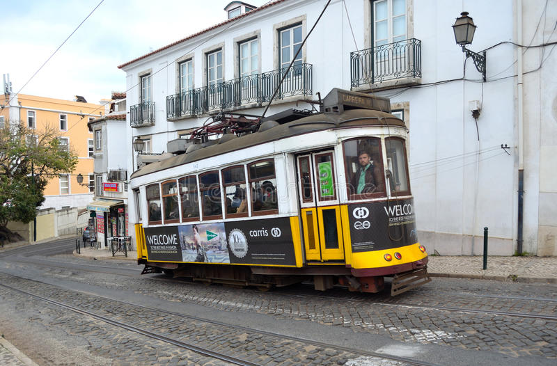 Vintage Tram or Streetcar Lisbon Portugal royalty free stock images