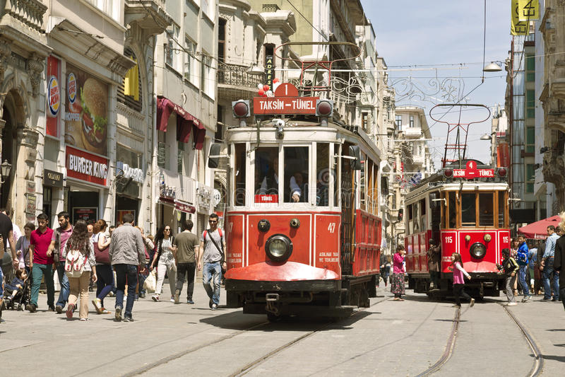 Vintage tram on the Taksim Street in Istanbul, Turkey. royalty free stock photos