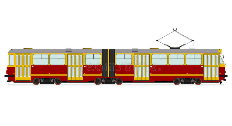 Vintage tram vector illustration