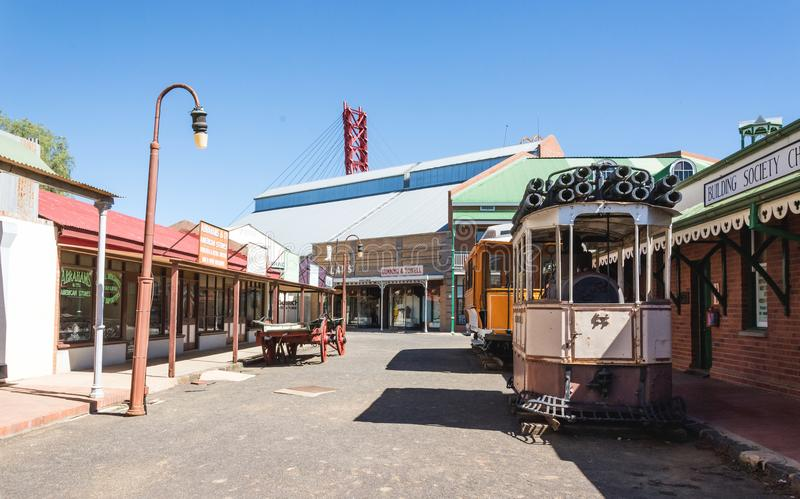 Vintage Transport in street. Street with vintage transport at historical town at Big Hole museum town stock photos