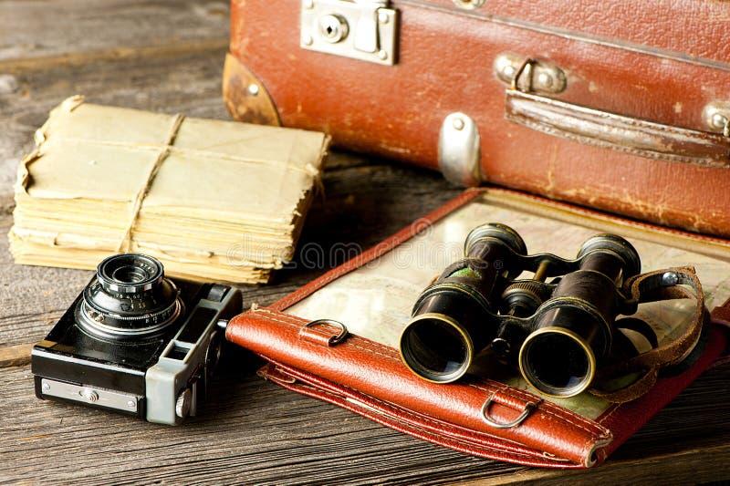 Vintage travel arrangements stock image