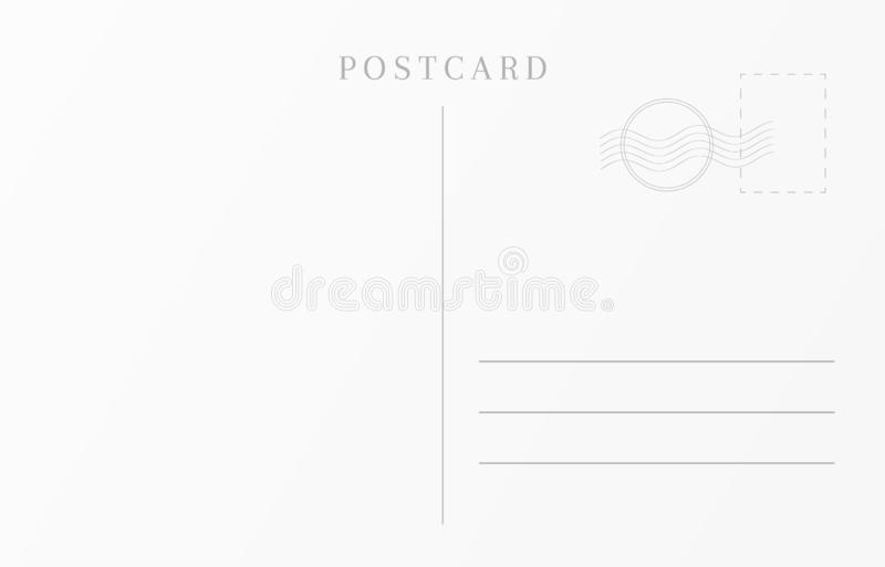 Vintage travel card template. Blank postcard design.  royalty free illustration