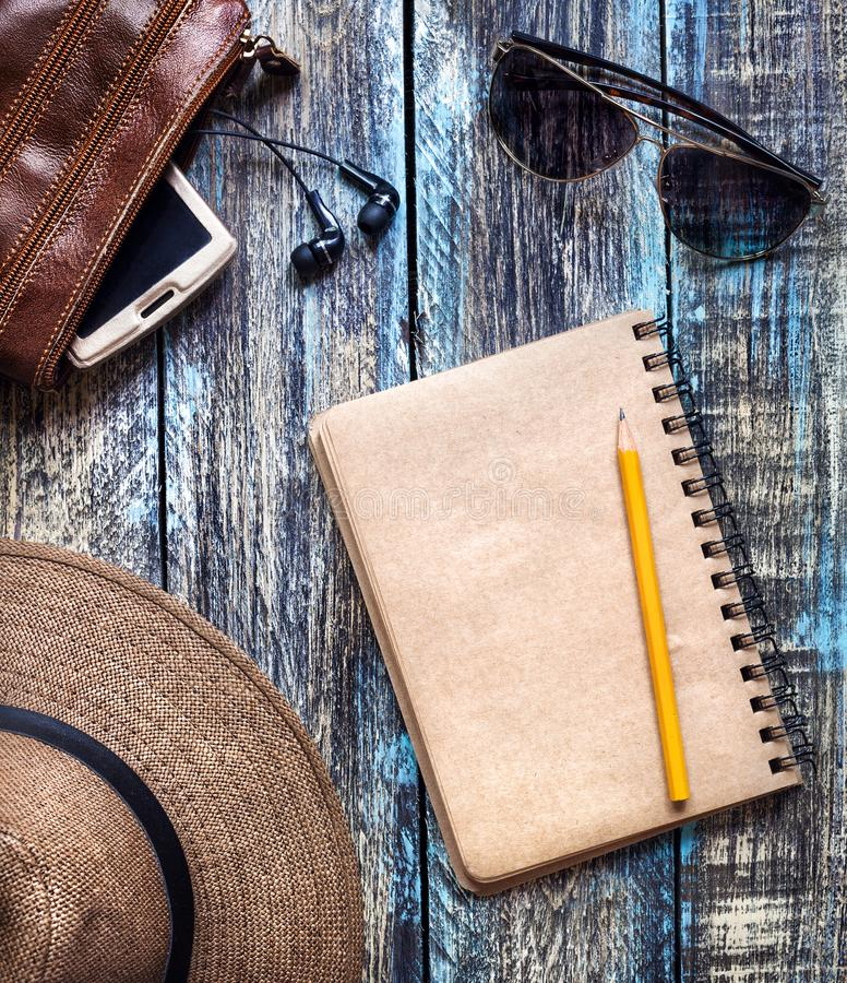 Vintage travel paper journal on the table royalty free stock image