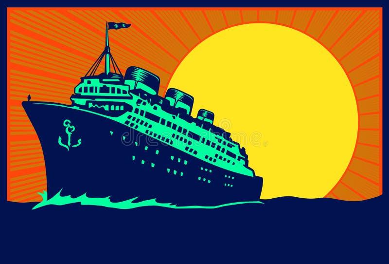 Vintage travel poster ocean liner cruise ship illustration royalty free illustration