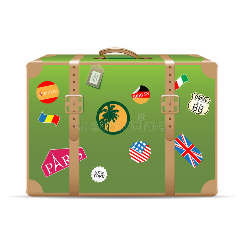 Download Vintage travel suitcase stock vector. Image of arrival - 16205513