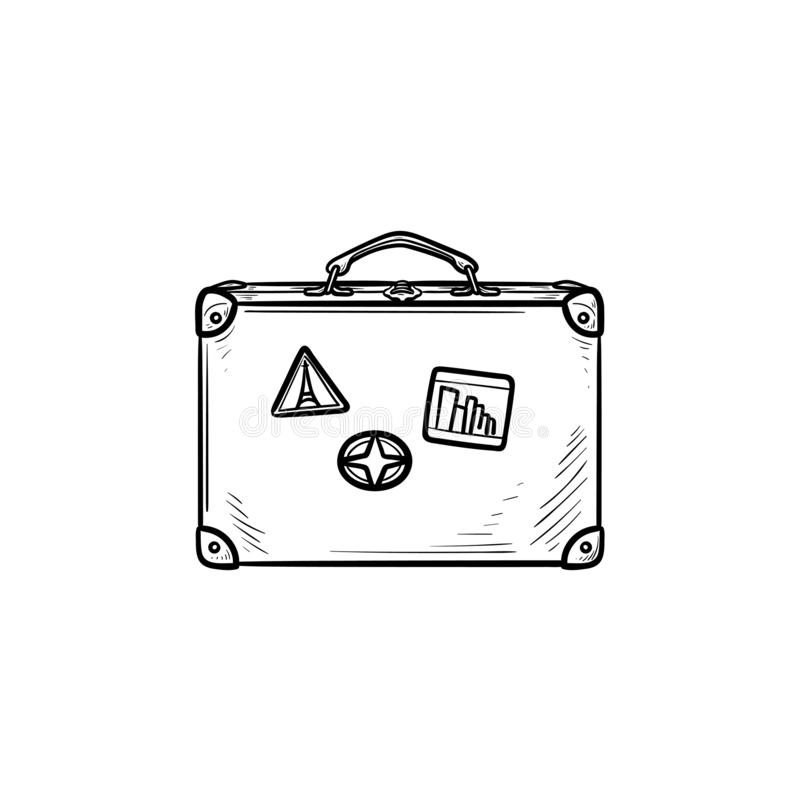 Vintage travel suitcase hand drawn outline doodle icon. royalty free illustration