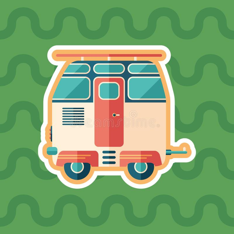 Vintage travel trailer sticker flat icon with color background. vector illustration